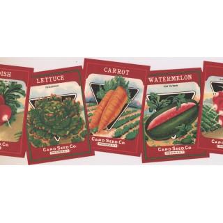 9 1/4 in x 15 ft Prepasted Wallpaper Borders - Vegetables Wall Paper Border KR2455B