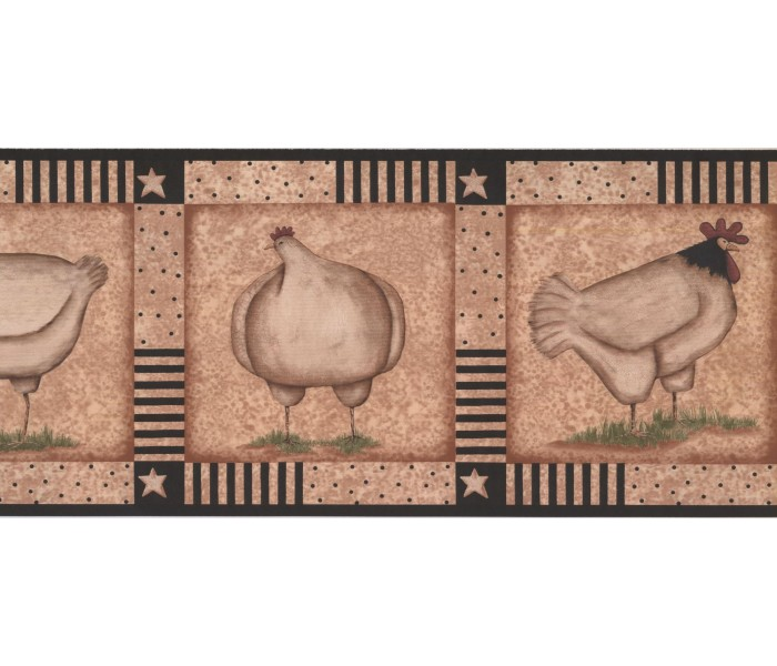 New  Arrivals Wall Borders: Roosters Wallpaper Border KR2519B