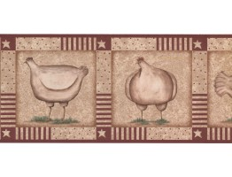 9 1/4 in x 15 ft Prepasted Wallpaper Borders - Roosters Wall Paper Border KR2521B