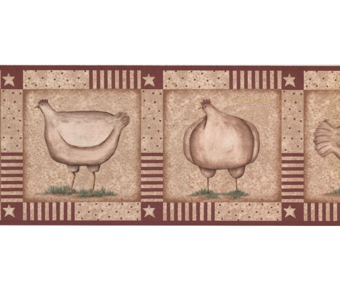 New  Arrivals Wall Borders: Roosters Wallpaper Border KR2521B