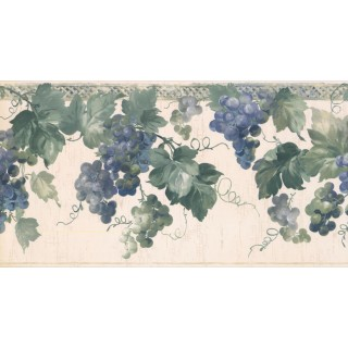 10 1/4 in x 15 ft Prepasted Wallpaper Borders - Grapes Wall Paper Border KR2554B