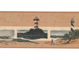 Prepasted Wallpaper Borders - Lighthouse Wall Paper Border KR2578B