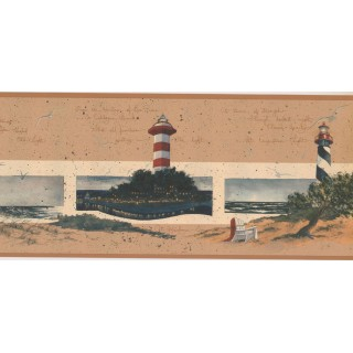9 in x 15 ft Prepasted Wallpaper Borders - Lighthouse Wall Paper Border KR2578B