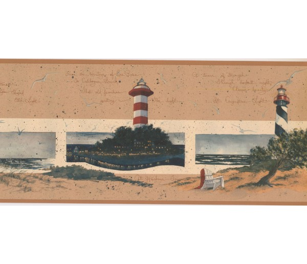 New  Arrivals Wall Borders: Lighthouse Wallpaper Border KR2578B