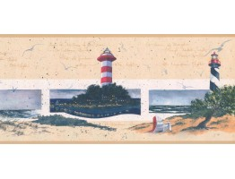 9 in x 15 ft Prepasted Wallpaper Borders - Lighthouse Wall Paper Border KR2581B