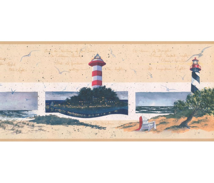 New  Arrivals Wall Borders: Lighthouse Wallpaper Border KR2581B
