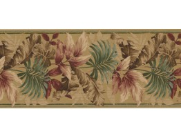 Prepasted Wallpaper Borders - Leaves Wall Paper Border KS76889