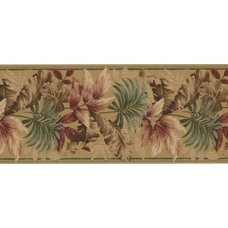 8 1/2 in x 15 ft Prepasted Wallpaper Borders - Leaves Wall Paper Border KS76889