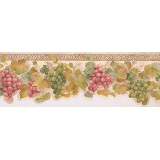 6 1/2 in x 15 ft Prepasted Wallpaper Borders - Grapes Wall Paper Border KT003113B