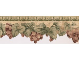 6 3/4 in x 15 ft Prepasted Wallpaper Borders - Grapes Wall Paper Border KT73361DC