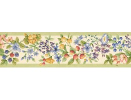 5 1/4 in x 15 ft Prepasted Wallpaper Borders - Fruits and Flower Wall Paper Border KT77903