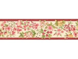 5 1/4 in x 15 ft Prepasted Wallpaper Borders - Fruits and Flower Wall Paper Border KT77904
