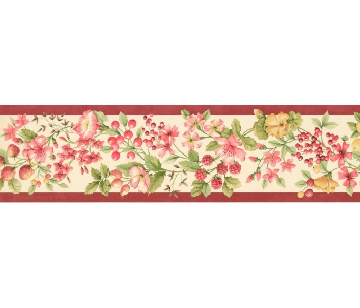 New  Arrivals Wall Borders: Fruits and Flower Wallpaper Border KT77904