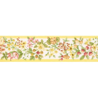 5 1/4 in x 15 ft Prepasted Wallpaper Borders - Fruits and Flower Wall Paper Border KT77905