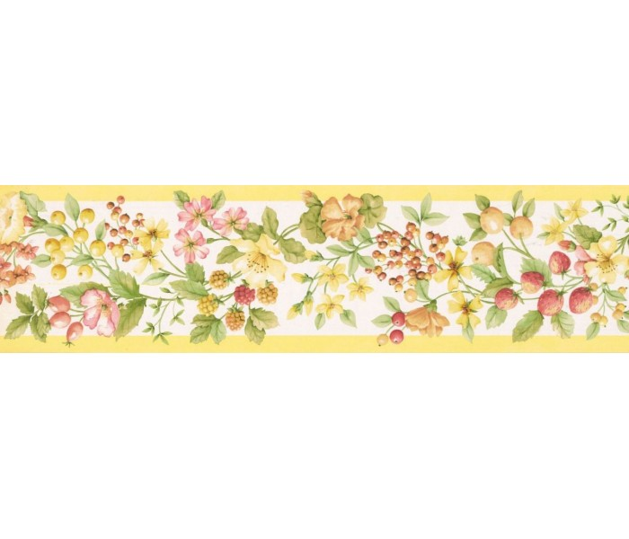 New  Arrivals Wall Borders: Fruits and Flower Wallpaper Border KT77905