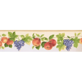 5 1/4 in x 15 ft Prepasted Wallpaper Borders - Fruits Wall Paper Border KT77919DC