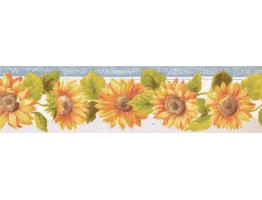 Prepasted Wallpaper Borders - Sunflower Wall Paper Border KT77921DC