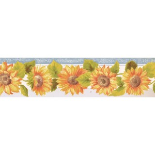 5 1/4 in x 15 ft Prepasted Wallpaper Borders - Sunflower Wall Paper Border KT77921DC