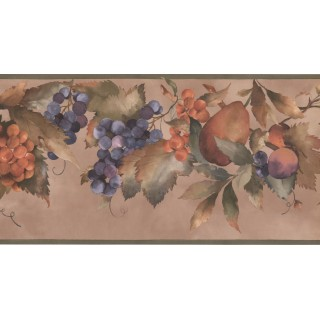 10 1/4 in x 15 ft Prepasted Wallpaper Borders - Fruits Wall Paper Border KT8354B