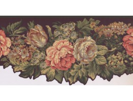 10 1/4 in x 15 ft Prepasted Wallpaper Borders - Floral Wall Paper Border KT8388B