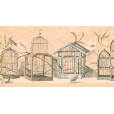 Prepasted Wallpaper Borders - Birds Cage Wall Paper Border KT8467B