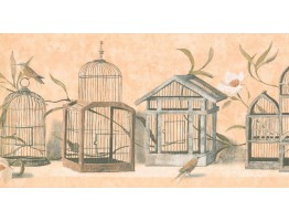 Prepasted Wallpaper Borders - Birds Cage Wall Paper Border KT8467B