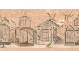 Prepasted Wallpaper Borders - Birds Cage Wall Paper Border KT8468B