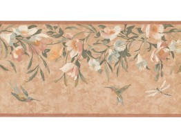 Prepasted Wallpaper Borders - Floral Wall Paper Border KT8469B