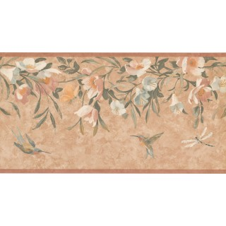 10 1/2 in x 15 ft Prepasted Wallpaper Borders - Floral Wall Paper Border KT8469B