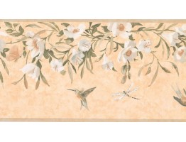 10 1/4 in x 15 ft Prepasted Wallpaper Borders - Floral Wall Paper Border KT8474B