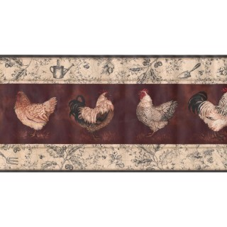 10 1/4 in x 15 ft Prepasted Wallpaper Borders - Roosters Wall Paper Border KT8507B
