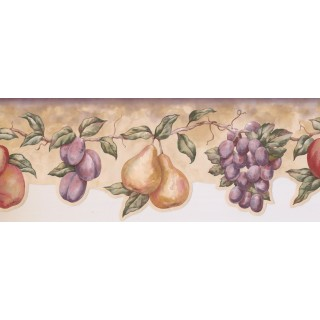 7 1/2 in x 15 ft Prepasted Wallpaper Borders - Fruits Wall Paper Border LA15015DB
