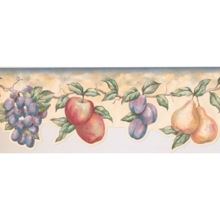 7 1/2 in x 15 ft Prepasted Wallpaper Borders - Fruits Wall Paper Border LA15016DB