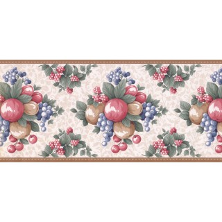 9 in x 15 ft Prepasted Wallpaper Borders - Fruits Wall Paper Border LF3123B