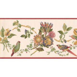 10 1/4 in x 15 ft Prepasted Wallpaper Borders - Birds Wall Paper Border LH2034B