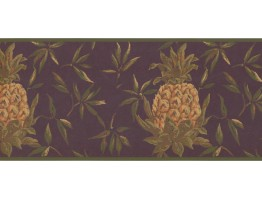 Prepasted Wallpaper Borders - Pineapple Fruits Wall Paper Border LH2052B