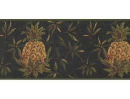 Prepasted Wallpaper Borders - Pineapple Fruits Wall Paper Border LH2054B
