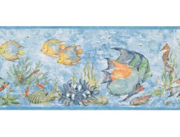 Prepasted Wallpaper Borders - Fish Wall Paper Border LK1580B