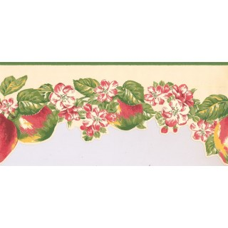 9 in x 15 ft Prepasted Wallpaper Borders - Fruits and Flower Wall Paper Border LT9460B