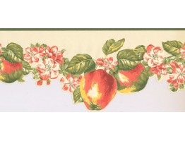 9 in x 15 ft Prepasted Wallpaper Borders - Fruits and Flower Wall Paper Border LT9461B