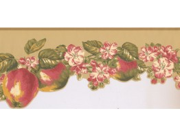 9 in x 15 ft Prepasted Wallpaper Borders - Fruits and Flower Wall Paper Border LT9462B