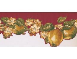 Prepasted Wallpaper Borders - Fruits and Flower Wall Paper Border LT9463B