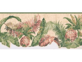 Prepasted Wallpaper Borders - Pineapple Fruits Wall Paper Border LT9466B