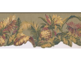 8 1/2 in x 15 ft Prepasted Wallpaper Borders - Leaves Wall Paper Border LT9467B
