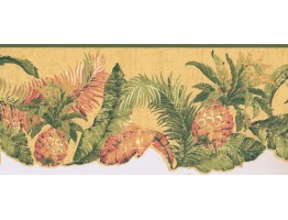 Prepasted Wallpaper Borders - Pineapple Fruits Wall Paper Border LT9469B