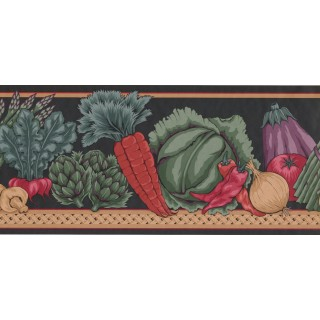 9 1/4 in x 15 ft Prepasted Wallpaper Borders - Vegetables Wall Paper Border MD143