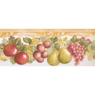7 1/2 in x 15 ft Prepasted Wallpaper Borders - Fruits Wall Paper Border MK77668