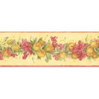 7 in x 15 ft Prepasted Wallpaper Borders - Fruits and Flower Wall Paper Border MK77671