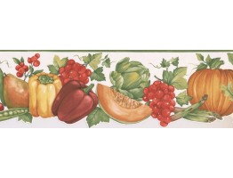 Prepasted Wallpaper Borders - Vegetables and Fruits Wall Paper Border MK77682DC
