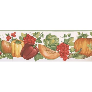 6 3/4 in x 15 ft Prepasted Wallpaper Borders - Vegetables and Fruits Wall Paper Border MK77682DC